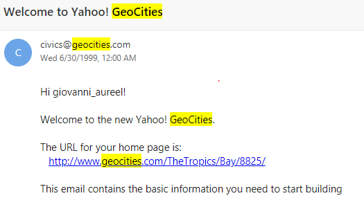 Screenshot of my Geocities Account confirmation
